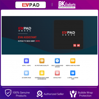 Evpad 5s Media Player - Andriod 7.0 | 2G Ram/16G Rom | Bluetooth 4.2 | LED Display | Lan Port | USB 2.0 Slot | USB3.0 | Support 2.4Ghz/5.8Ghz | Wi-Fi Connection