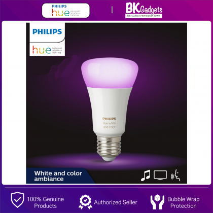 Philips HUE Smart LED Light Bulb [ White & Color Ambiance A60 ] - Bring Smart Light Anywhere in Your Home