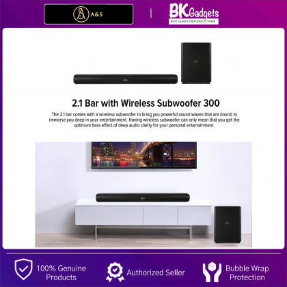 A&S Soundbar 2.1 Channel with Wireless Subwoofer 300 - Strong Stereo Strength | Wireless Subwoofer | Bluetooth Connection