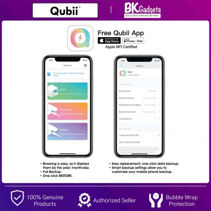 Maktar Qubii Pro Keeping Memories Safe Device When Charging Your IOS Device - Be Free of Monthly Fees