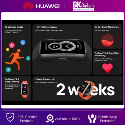 HUAWEI Band 6 Smart Fitness Tracking - All-Day SpO2 Monitoring | FullView Display | 2-Week Battery Life