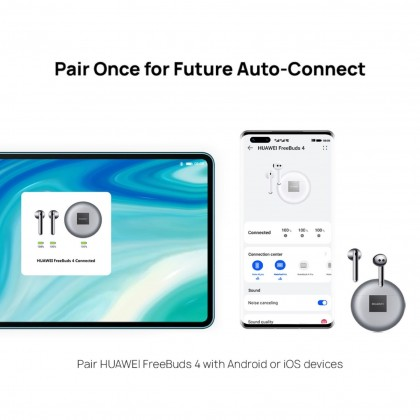 HUAWEI FreeBuds 4 Wireless Earphone - Air-Like Comfort | High Resolution Sound | Open-fit Active Noise Cancellation | Crystal Clear Audio