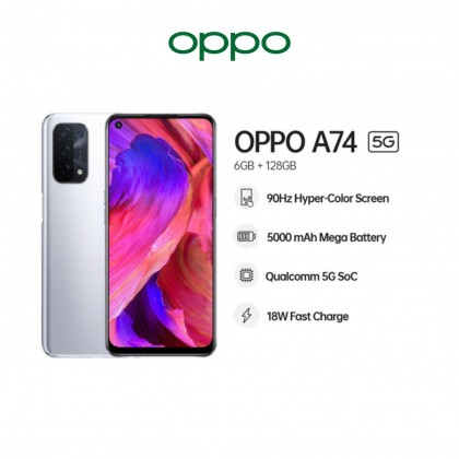"""OPPO A74 5G [ 6GB + 128GB ] Smartphone - 6.44"""" AMOLED Screen   Qualcomm 5G SoC   5000mAh Big Battery   33W Flash Charge   Always Reliable Always Relaxed"""