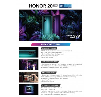 Honor 20 Pro 8/256GB Phantom Blue - Original from Honor Malaysia 1 Year Warranty