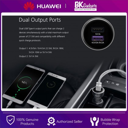 HUAWEI Supercharge Car Charger AP38 - 22.5W   Dual Output Ports   Universal Compatibility