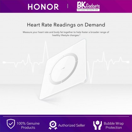 Honor Body Scale 2 - 11 Body Health Indicators | HUAWEI TruFit | 100g Fine Scale Increments | Heart Rate Readings