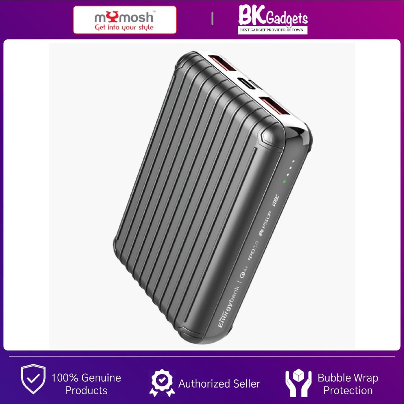 MYMOSH PowerBank Ultra Small 12600mAh PD3.0 Type-C Dual Input   Triple Output with Quick Charge   QC 4+ Adaptive Turbo Charging