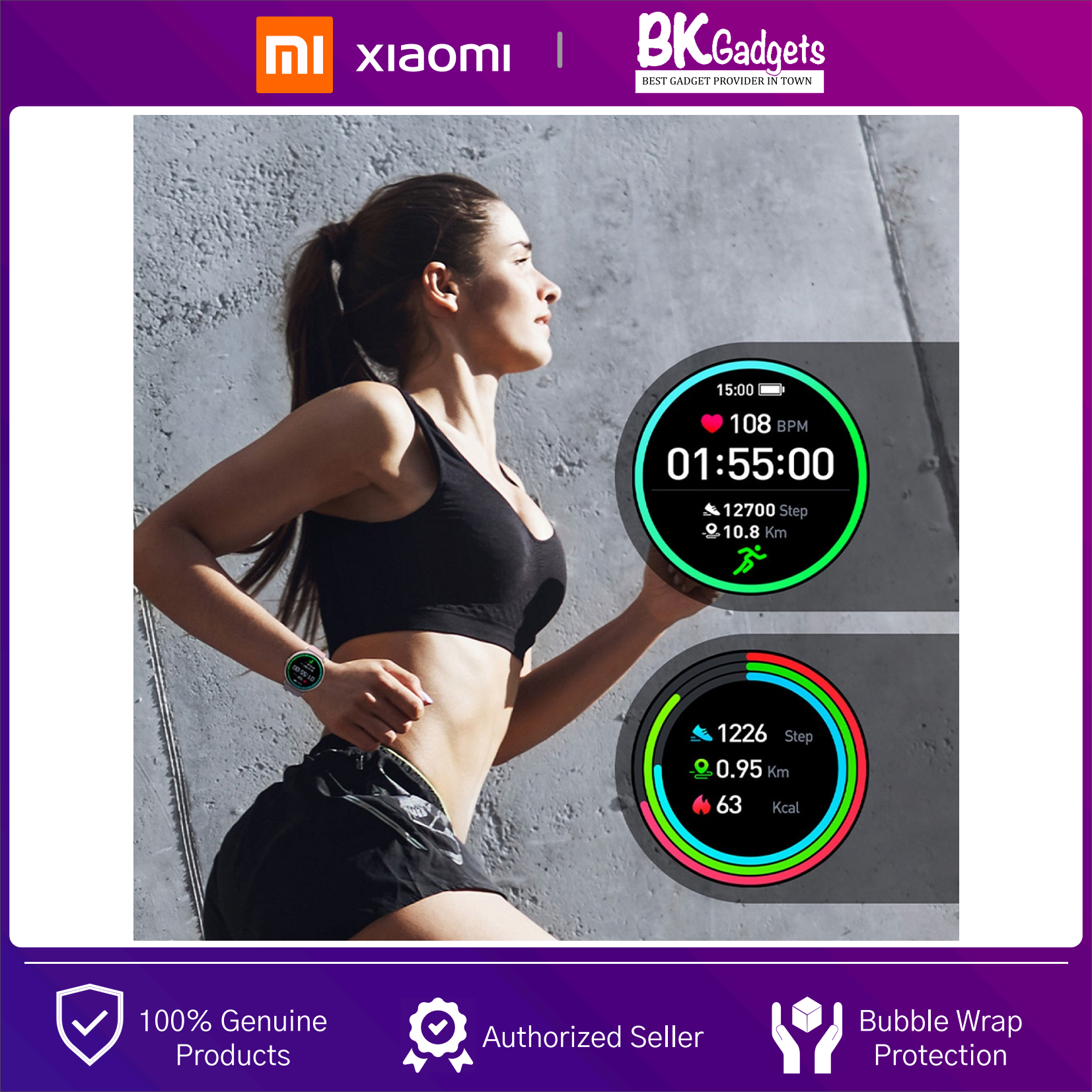 """Xiaomi imilab KW66 Smart Watch - 1.28"""" 3D HD Curved   LED Touch Screen   IP68 Waterproof   13-Sport Modes + FREE Strap"""